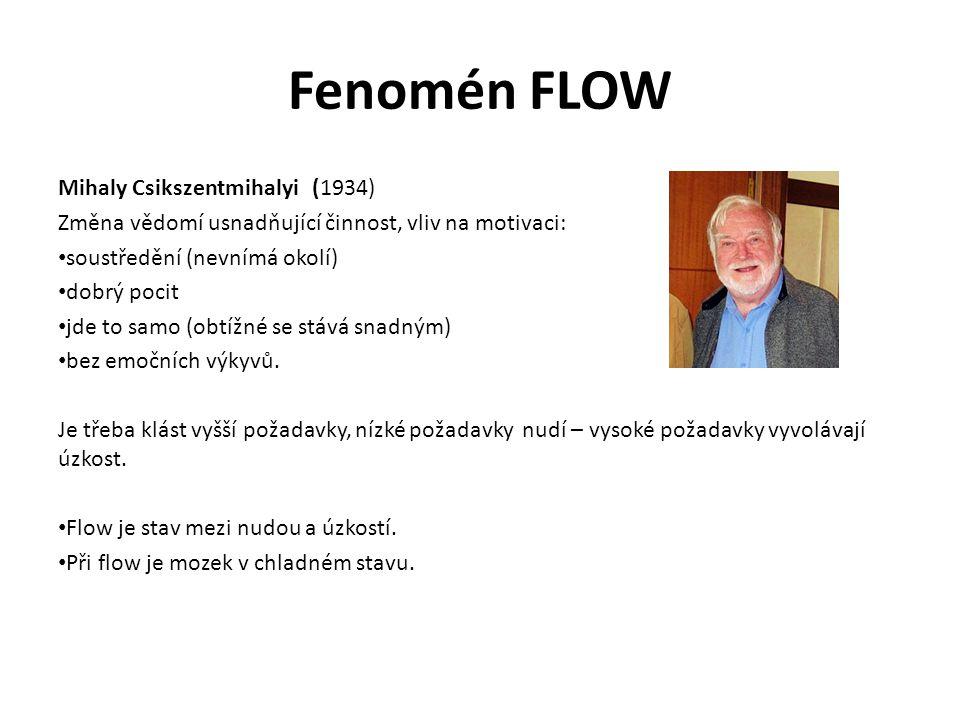 Fenomén FLOW Mihaly Csikszentmihalyi (1934) Změna vědomí usnadňující činnost, vliv na motivaci: soustředění (nevnímá okolí) dobrý pocit jde to samo (o