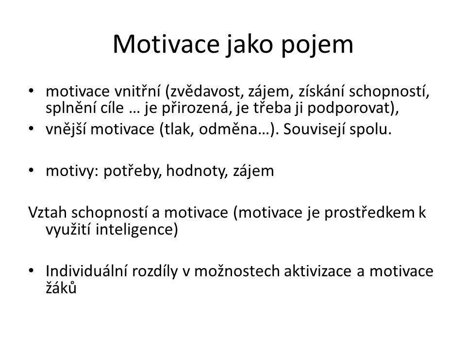 Motivace jako pojem motivace vnitřní (zvědavost, zájem, získání schopností, splnění cíle … je přirozená, je třeba ji podporovat), vnější motivace (tla