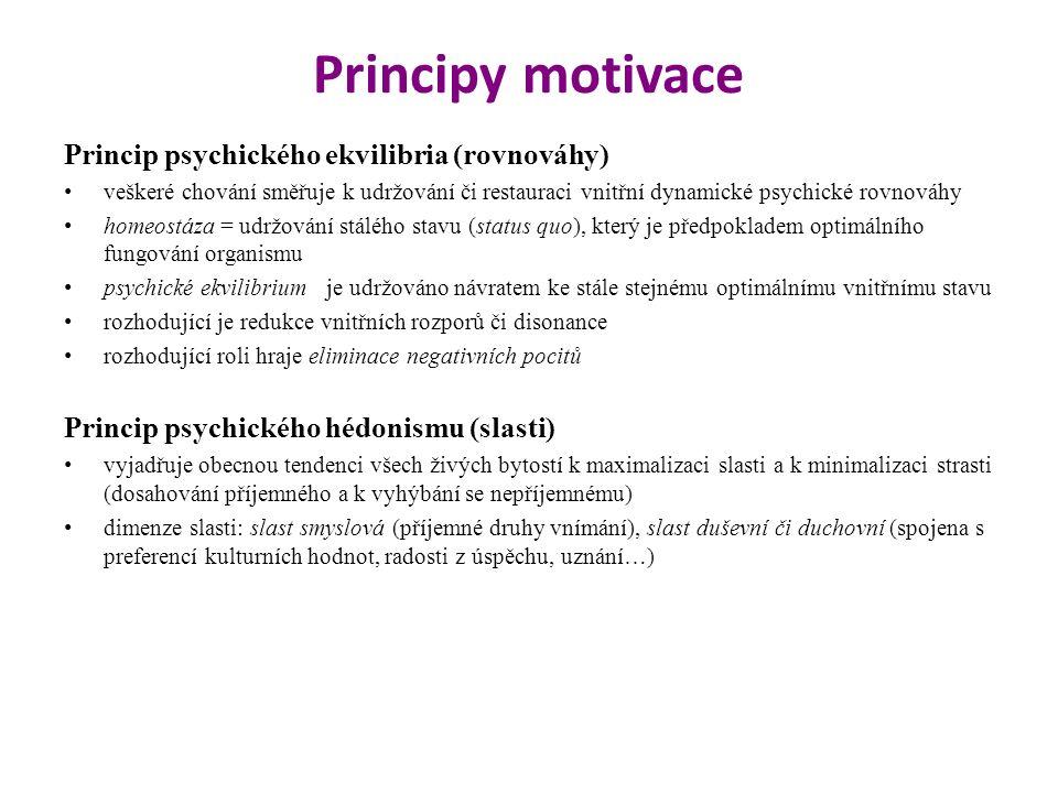 Principy motivace Princip psychického ekvilibria (rovnováhy) veškeré chování směřuje k udržování či restauraci vnitřní dynamické psychické rovnováhy h
