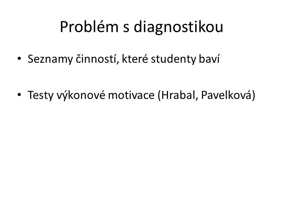 Problém s diagnostikou Seznamy činností, které studenty baví Testy výkonové motivace (Hrabal, Pavelková)