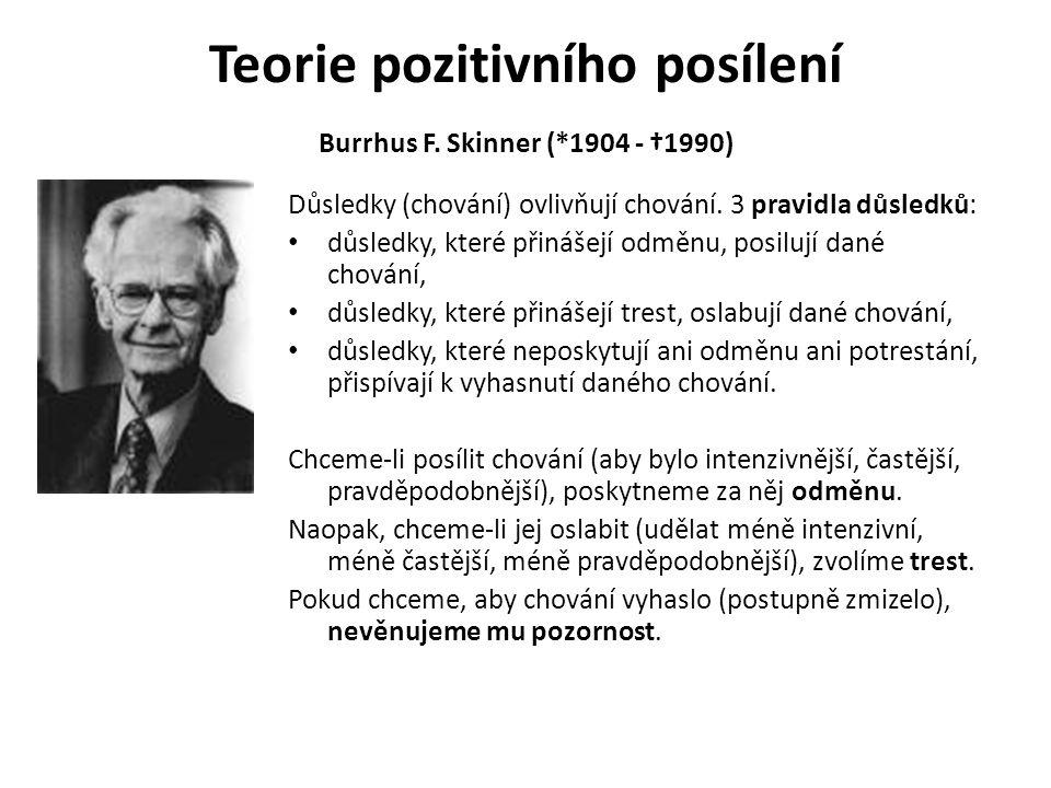 Teorie pozitivního posílení Burrhus F. Skinner (*1904 - †1990) Důsledky (chování) ovlivňují chování. 3 pravidla důsledků: důsledky, které přinášejí od