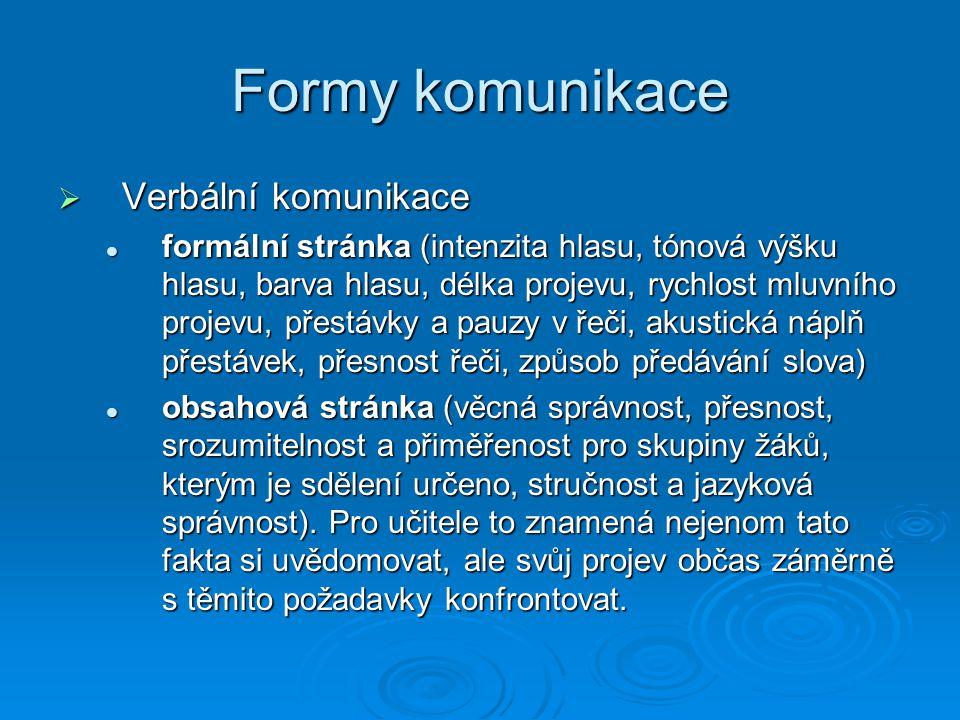 Formy komunikace  Verbální komunikace formální stránka (intenzita hlasu, tónová výšku hlasu, barva hlasu, délka projevu, rychlost mluvního projevu, p