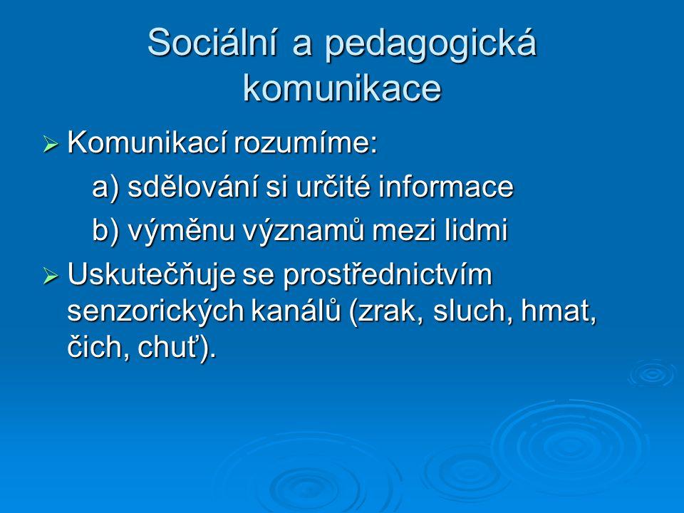 Sociální a pedagogická komunikace  Komunikací rozumíme: a) sdělování si určité informace a) sdělování si určité informace b) výměnu významů mezi lidmi b) výměnu významů mezi lidmi  Uskutečňuje se prostřednictvím senzorických kanálů (zrak, sluch, hmat, čich, chuť).