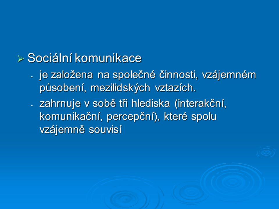  Sociální komunikace - je založena na společné činnosti, vzájemném působení, mezilidských vztazích. - zahrnuje v sobě tři hlediska (interakční, komun