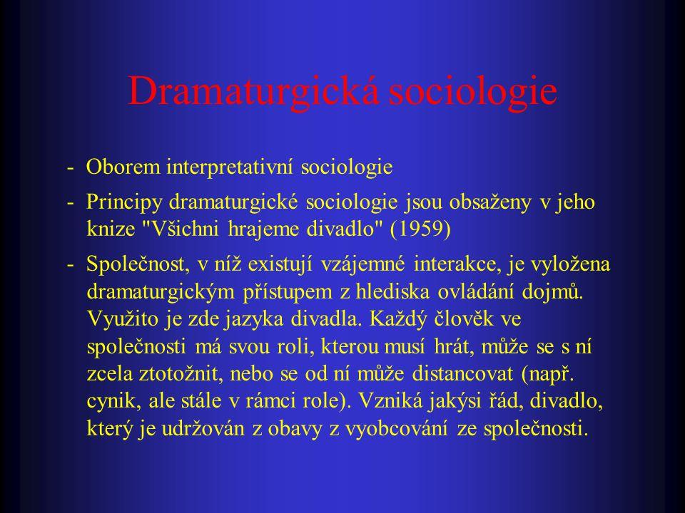- Oborem interpretativní sociologie - Principy dramaturgické sociologie jsou obsaženy v jeho knize Všichni hrajeme divadlo (1959) - Společnost, v níž existují vzájemné interakce, je vyložena dramaturgickým přístupem z hlediska ovládání dojmů.