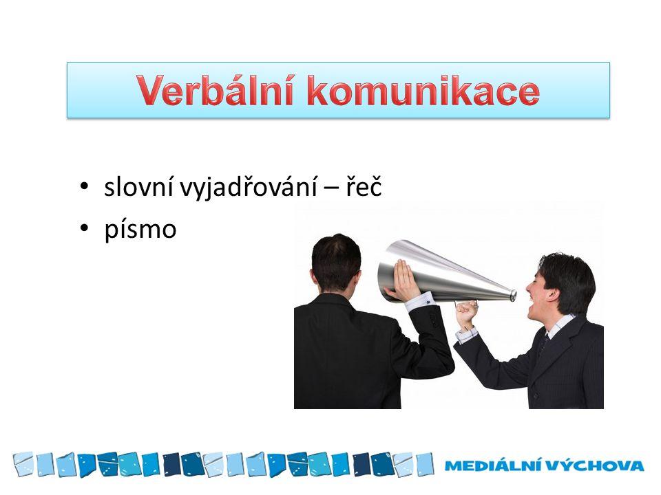 slovní vyjadřování – řeč písmo