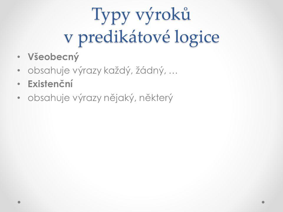 Typy výroků v predikátové logice Všeobecný obsahuje výrazy každý, žádný, … Existenční obsahuje výrazy nějaký, některý