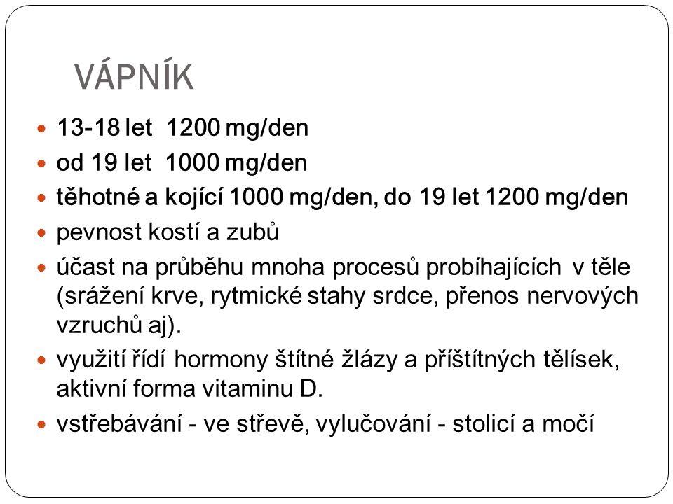 dospělí muži: 10 mg/den ženy: 15-10 mg/den těhotné: 30 mg kojící: 20 mg součást hemoglobinu, myoglobinu, transferinu, feritinu nutné k přenosu kyslíku červenými krvinkami součást mnoha různých enzymů ŽELEZO (Fe)