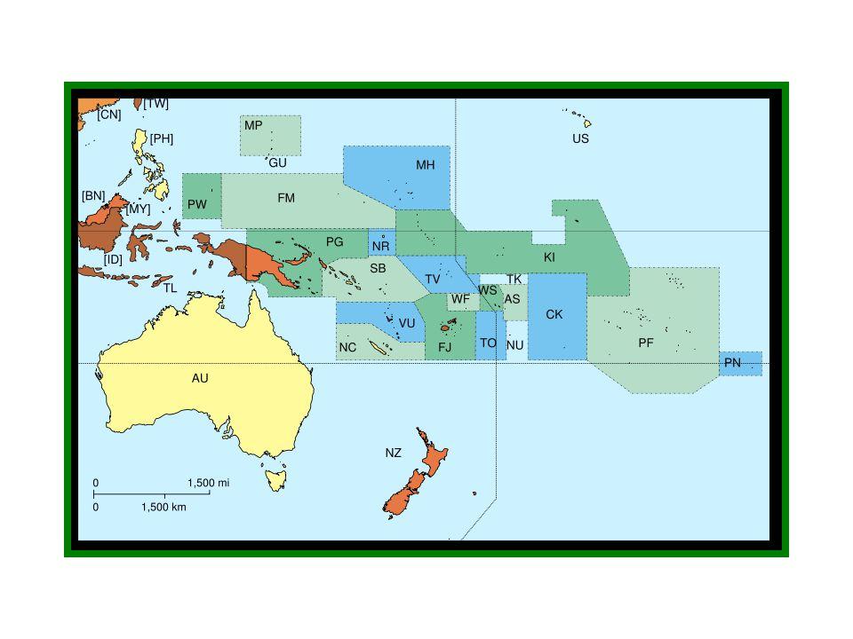 Charakteristika regionu: Podnebí: oceánské leží v tropickém pásu, ale vlivem oceánu jsou zde teploty stálé přes 20 °C Hospodářství: málo vyspělé Z plantážnické – palma kokosová, ananas, káva cestovní ruch