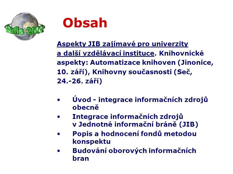 Časové horizonty a dostupnost informací první oborové informační brány 2002, 2003 základní metodika k dispozici na stránkách JIB do konce roku 2002 koordinace NK – partneři ???
