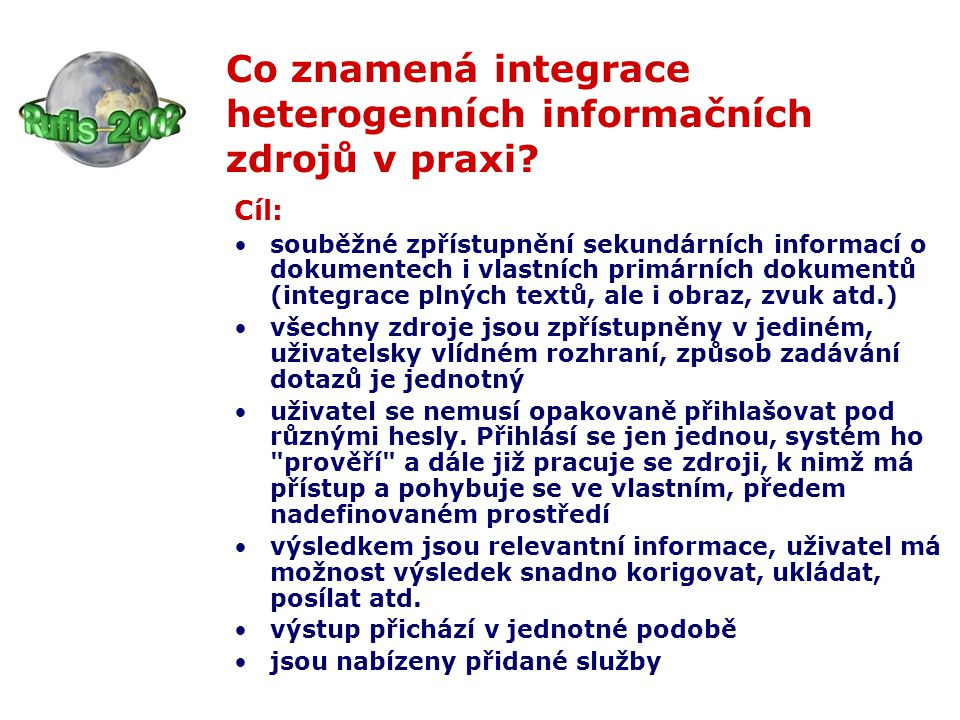 Popis a hodnocení fondů metodou konspektu překážkou pro komplexní zpřístupnění fondů českých knihoven a snadnou navigaci uživatelů hledajících informace k určitému tématu do knihoven silných právě v hledané oblasti je nekvalitní popis obsahu fondů na stránkách většiny českých knihoven a absence údajů umožňujících makropohled na fondy našich knihoven chybí komplexní a srozumitelná tematická mapa našich knihoven vytvořená na základě jednotné metodiky náprava situace - aplikace metody konspektu