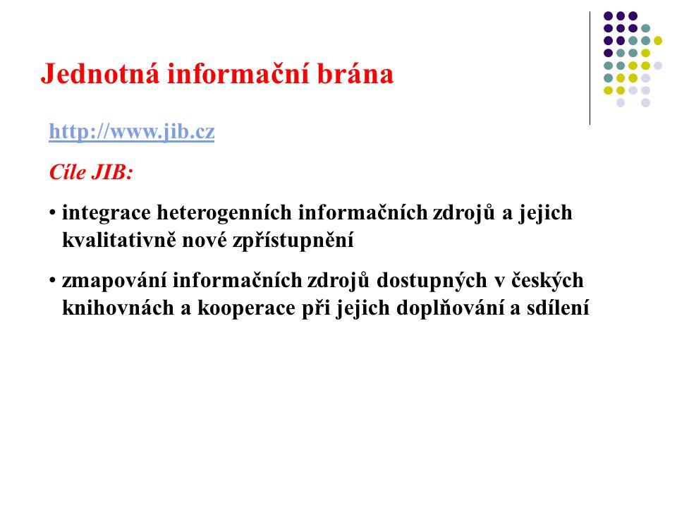 Jednotná informační brána http://www.jib.cz Cíle JIB: integrace heterogenních informačních zdrojů a jejich kvalitativně nové zpřístupnění zmapování informačních zdrojů dostupných v českých knihovnách a kooperace při jejich doplňování a sdílení