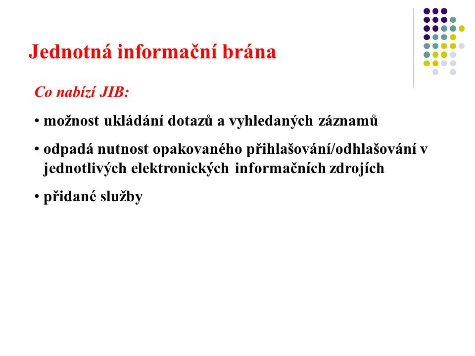 Jednotná informační brána Co nabízí JIB: možnost ukládání dotazů a vyhledaných záznamů odpadá nutnost opakovaného přihlašování/odhlašování v jednotlivých elektronických informačních zdrojích přidané služby