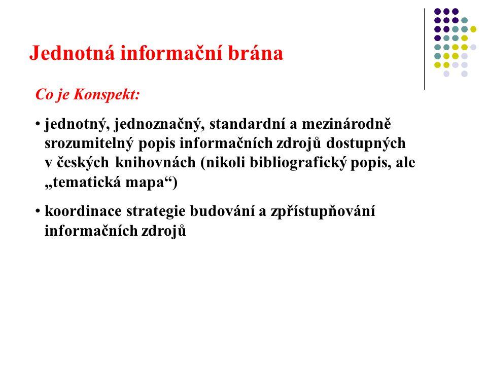 """Jednotná informační brána Co je Konspekt: jednotný, jednoznačný, standardní a mezinárodně srozumitelný popis informačních zdrojů dostupných v českých knihovnách (nikoli bibliografický popis, ale """"tematická mapa ) koordinace strategie budování a zpřístupňování informačních zdrojů"""