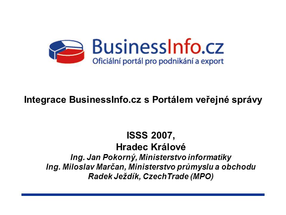 Integrace BusinessInfo.cz s Portálem veřejné správy ISSS 2007, Hradec Králové Ing.