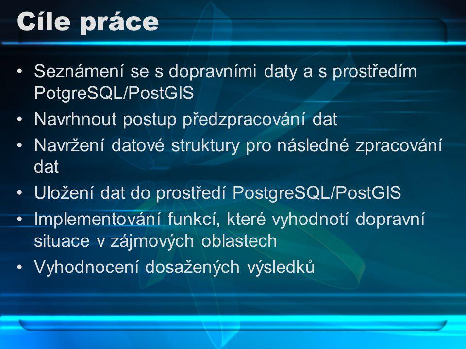 Cíle práce Seznámení se s dopravními daty a s prostředím PotgreSQL/PostGIS Navrhnout postup předzpracování dat Navržení datové struktury pro následné