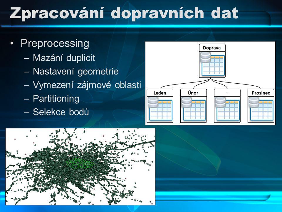Zpracování dopravních dat Preprocessing –Mazání duplicit –Nastavení geometrie –Vymezení zájmové oblasti –Partitioning –Selekce bodů