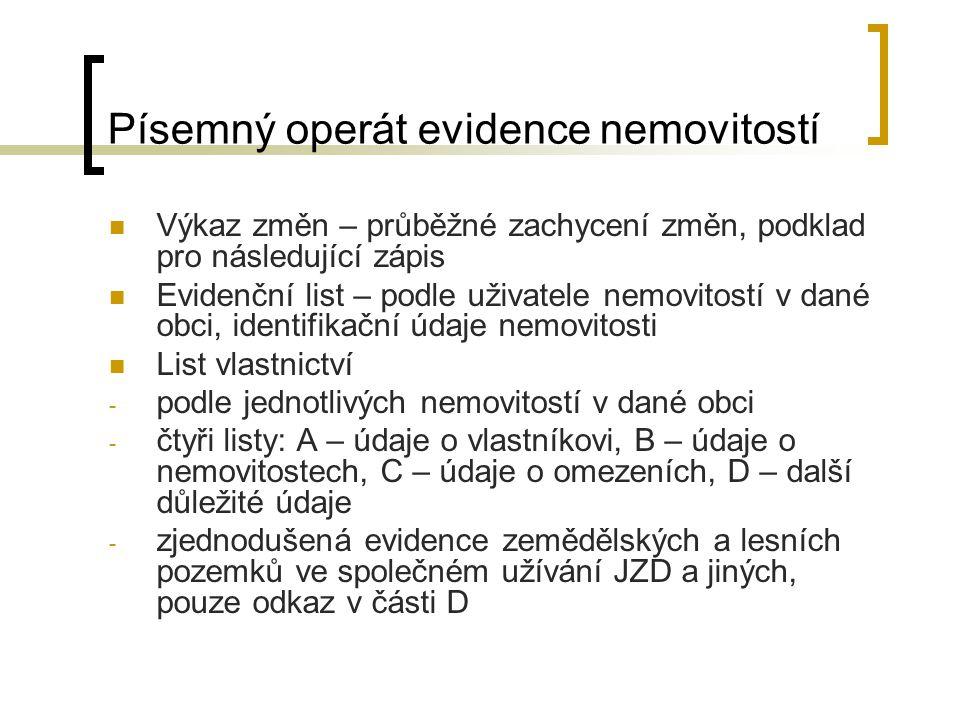 Písemný operát evidence nemovitostí Výkaz změn – průběžné zachycení změn, podklad pro následující zápis Evidenční list – podle uživatele nemovitostí v