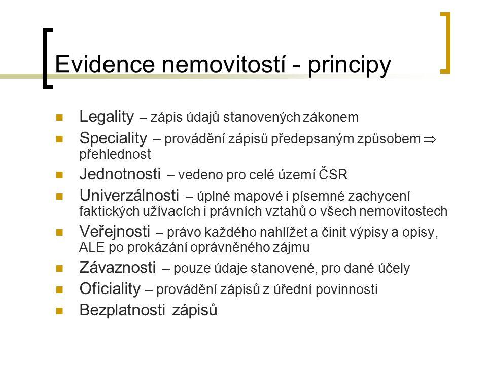 Evidence nemovitostí - principy Legality – zápis údajů stanovených zákonem Speciality – provádění zápisů předepsaným způsobem  přehlednost Jednotnost