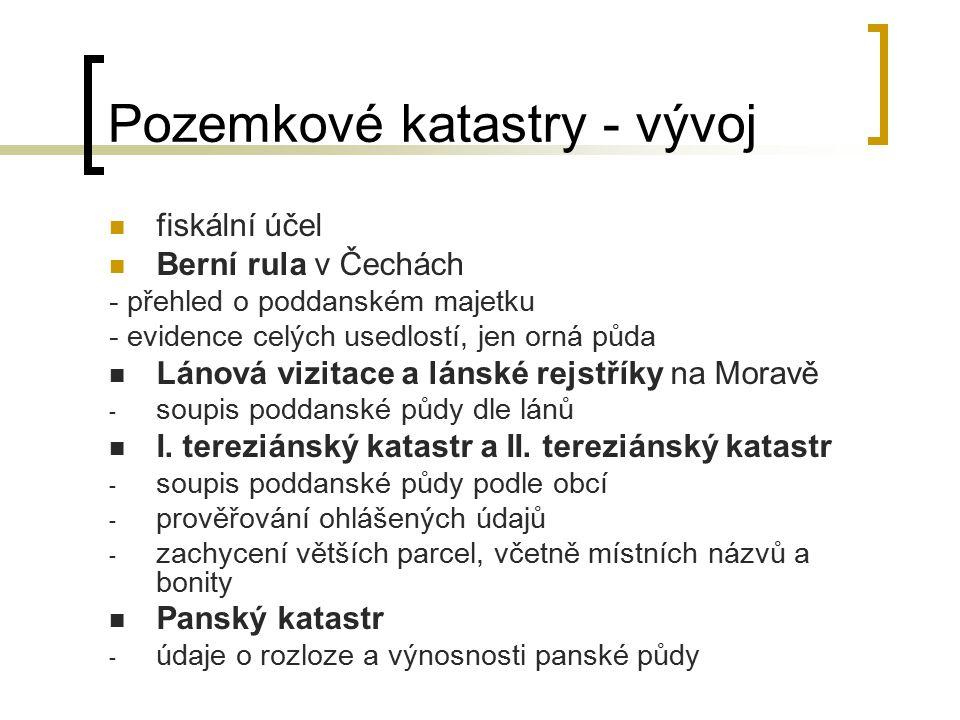 Pozemkové katastry - vývoj Nový josefský katastr - společná evidence panské a poddanské půdy podle tzv.