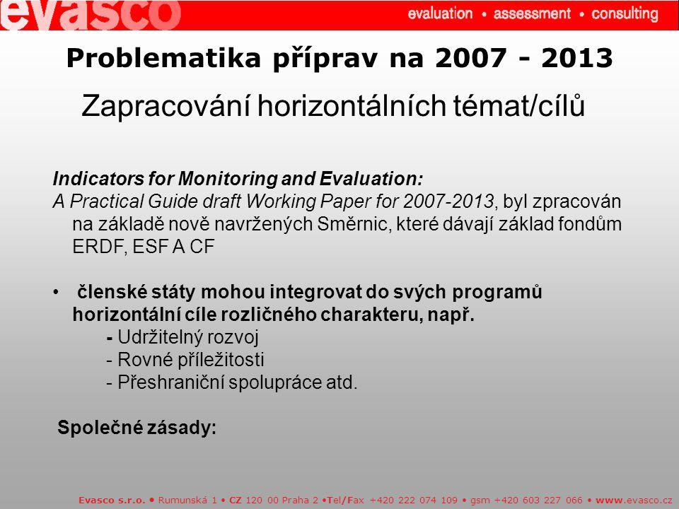 Problematika příprav na 2007 - 2013 Zapracování horizontálních témat/cílů Evasco s.r.o.