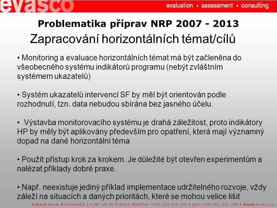 Problematika příprav NRP 2007 - 2013 Zapracování horizontálních témat/cílů Evasco s.r.o.