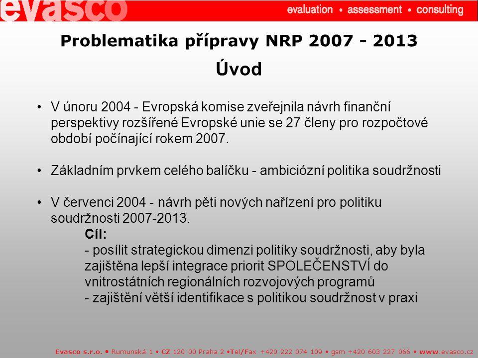 Problematika přípravy NRP 2007 - 2013 Úvod Evasco s.r.o.