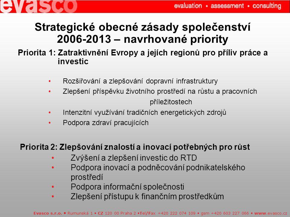 Strategické obecné zásady společenství 2006-2013 – navrhované priority Evasco s.r.o.