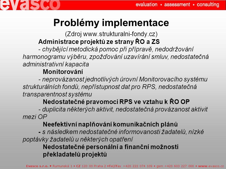 Problémy implementace (Zdroj www.strukturalni-fondy.cz) Evasco s.r.o.