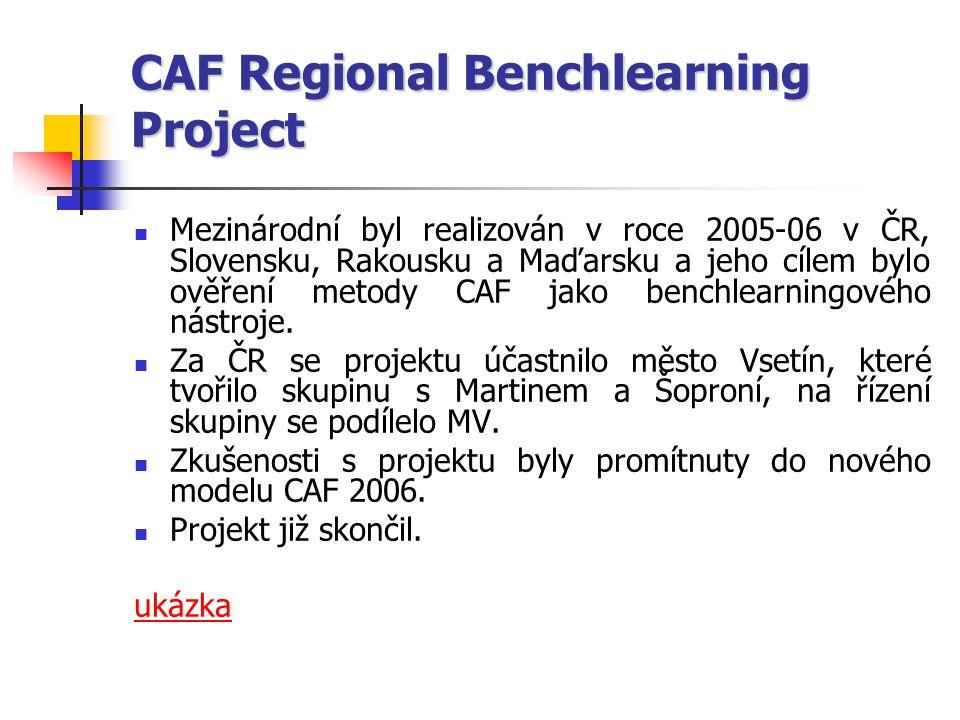 CAF Regional Benchlearning Project Mezinárodní byl realizován v roce 2005-06 v ČR, Slovensku, Rakousku a Maďarsku a jeho cílem bylo ověření metody CAF jako benchlearningového nástroje.