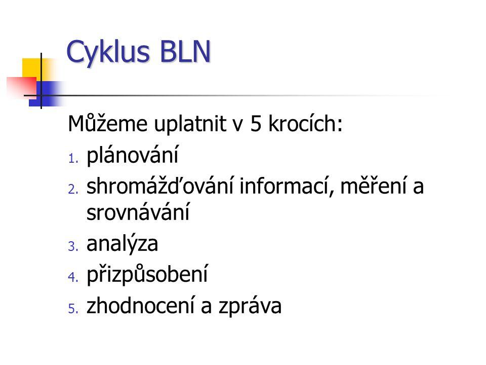 Cyklus BLN Můžeme uplatnit v 5 krocích: 1.plánování 2.