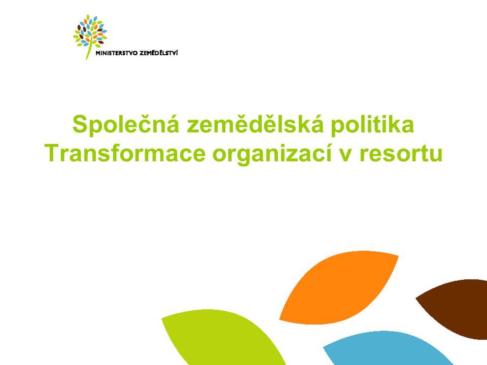 Společná zemědělská politika Transformace organizací v resortu