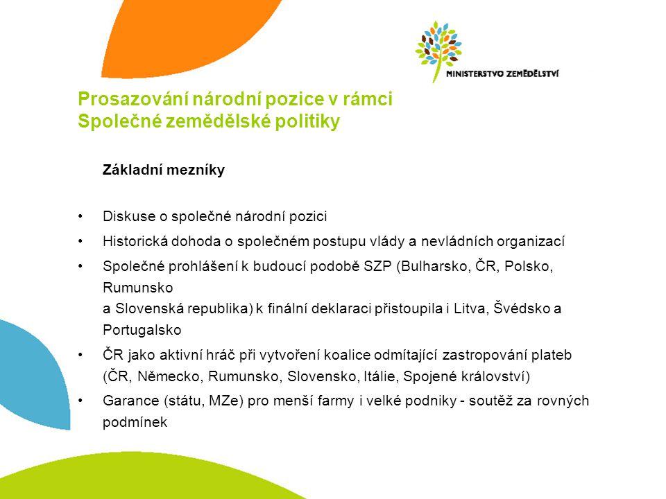 Prosazování národní pozice v rámci Společné zemědělské politiky Rozšíření pomoci citlivým komoditám - do 10 % přímých plateb (čl.