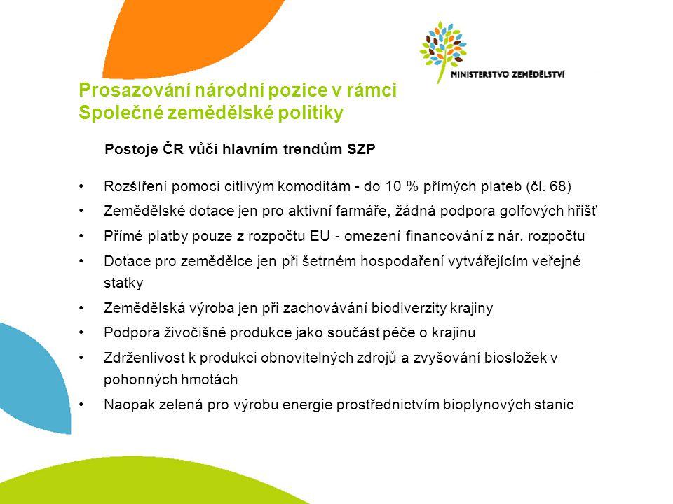 Prosazování národní pozice v rámci Společné zemědělské politiky Rozšíření pomoci citlivým komoditám - do 10 % přímých plateb (čl. 68) Zemědělské dotac
