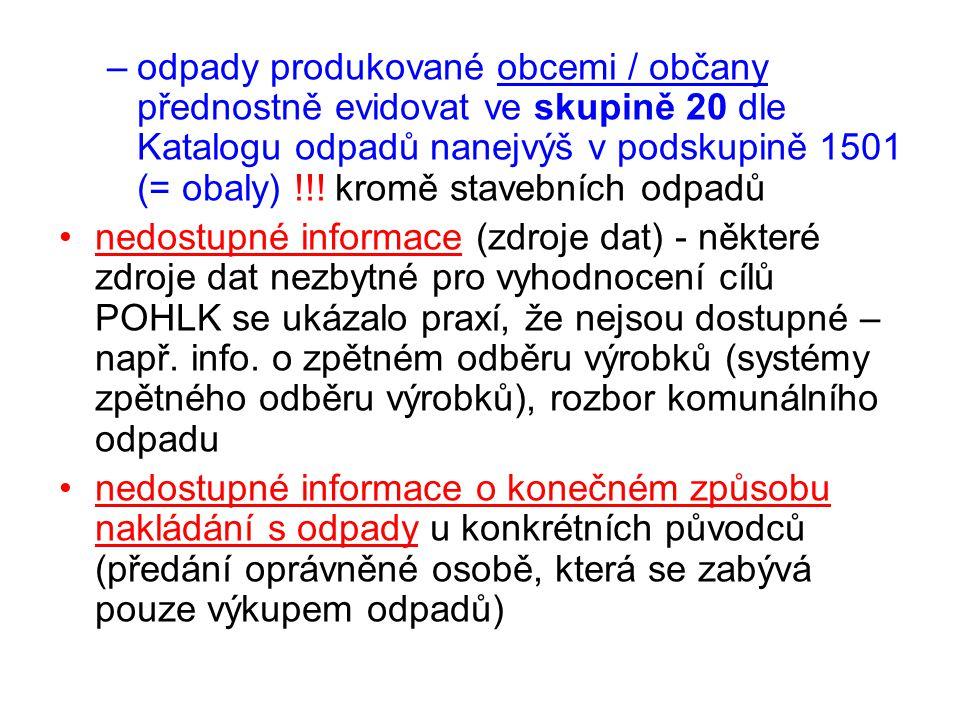 –odpady produkované obcemi / občany přednostně evidovat ve skupině 20 dle Katalogu odpadů nanejvýš v podskupině 1501 (= obaly) !!! kromě stavebních od