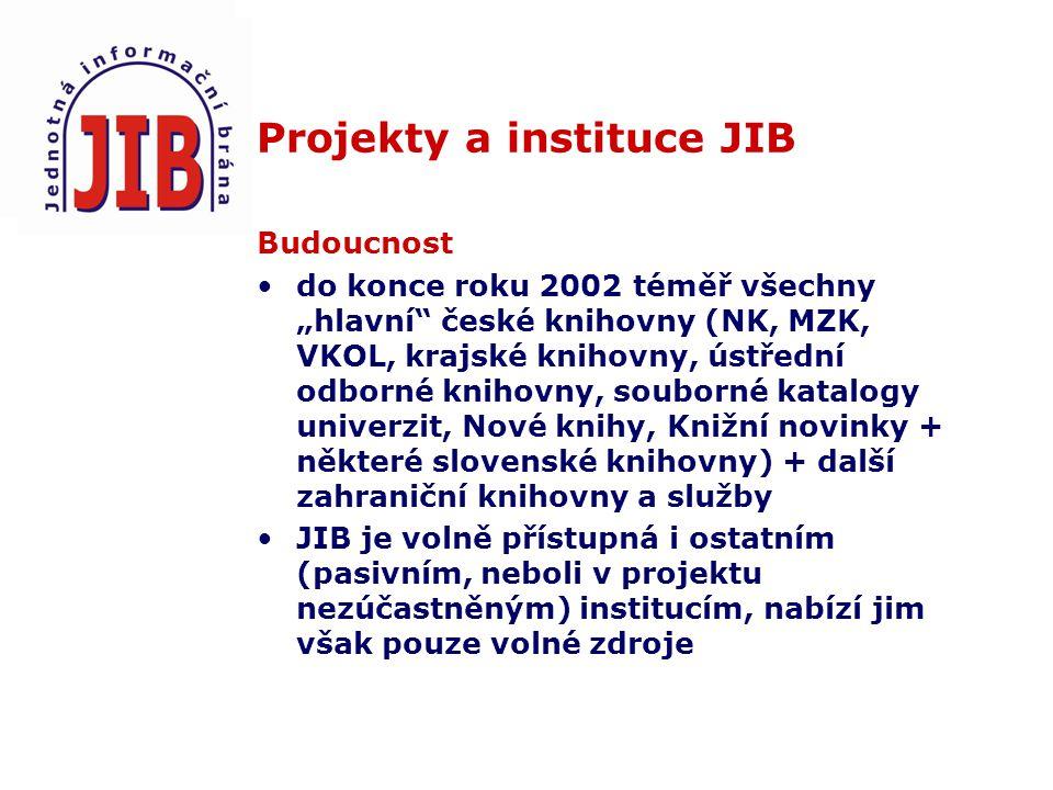 """Projekty a instituce JIB Budoucnost do konce roku 2002 téměř všechny """"hlavní české knihovny (NK, MZK, VKOL, krajské knihovny, ústřední odborné knihovny, souborné katalogy univerzit, Nové knihy, Knižní novinky + některé slovenské knihovny) + další zahraniční knihovny a služby JIB je volně přístupná i ostatním (pasivním, neboli v projektu nezúčastněným) institucím, nabízí jim však pouze volné zdroje"""