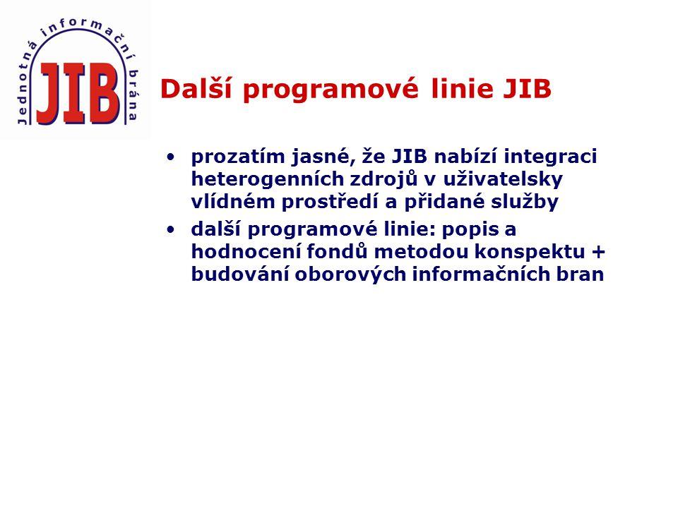 Další programové linie JIB prozatím jasné, že JIB nabízí integraci heterogenních zdrojů v uživatelsky vlídném prostředí a přidané služby další programové linie: popis a hodnocení fondů metodou konspektu + budování oborových informačních bran