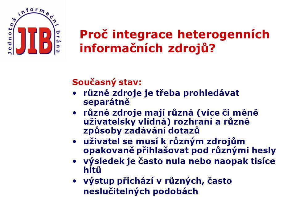 Proč integrace heterogenních informačních zdrojů.