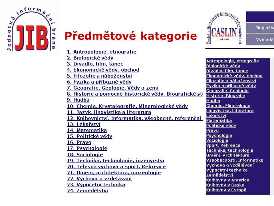 Předmětové kategorie 1.Antropologie, etnografie 2.