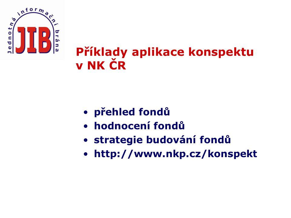 Příklady aplikace konspektu v NK ČR přehled fondů hodnocení fondů strategie budování fondů http://www.nkp.cz/konspekt