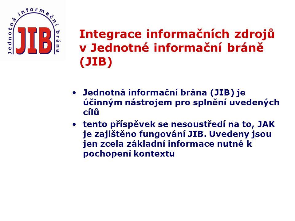 Integrace informačních zdrojů v Jednotné informační bráně (JIB) Jednotná informační brána (JIB) je účinným nástrojem pro splnění uvedených cílů tento příspěvek se nesoustředí na to, JAK je zajištěno fungování JIB.