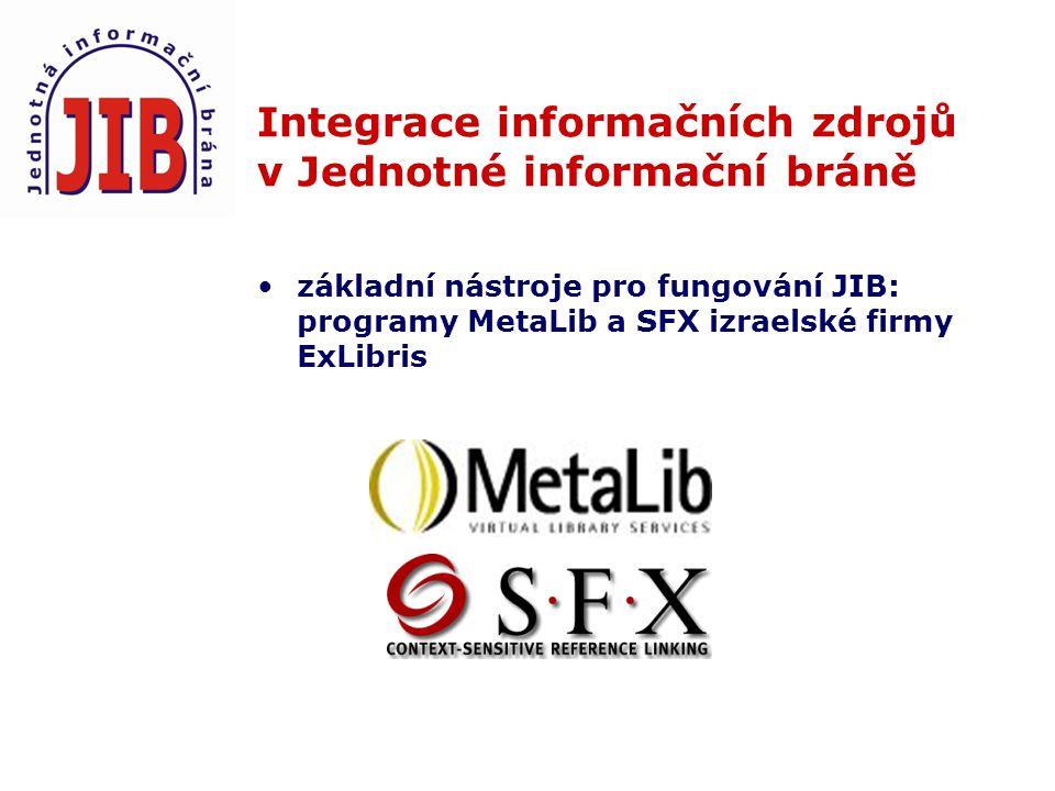 Integrace informačních zdrojů v Jednotné informační bráně základní nástroje pro fungování JIB: programy MetaLib a SFX izraelské firmy ExLibris