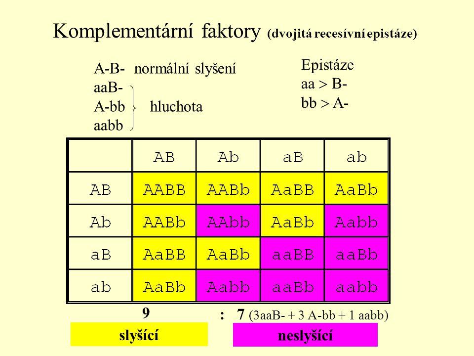 neslyšící slyšící 9 : 7 (3aaB- + 3 A-bb + 1 aabb) A-B- normální slyšení aaB- A-bb hluchota aabb Komplementární faktory (dvojitá recesívní epistáze) Ep
