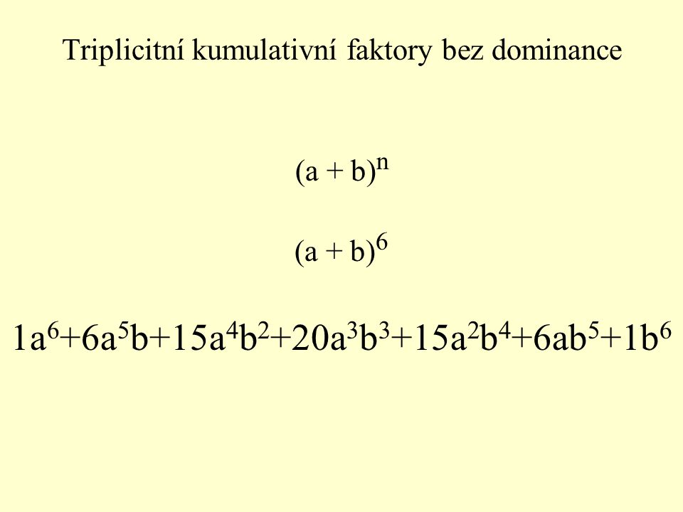 (a + b) n (a + b) 6 1a 6 +6a 5 b+15a 4 b 2 +20a 3 b 3 +15a 2 b 4 +6ab 5 +1b 6