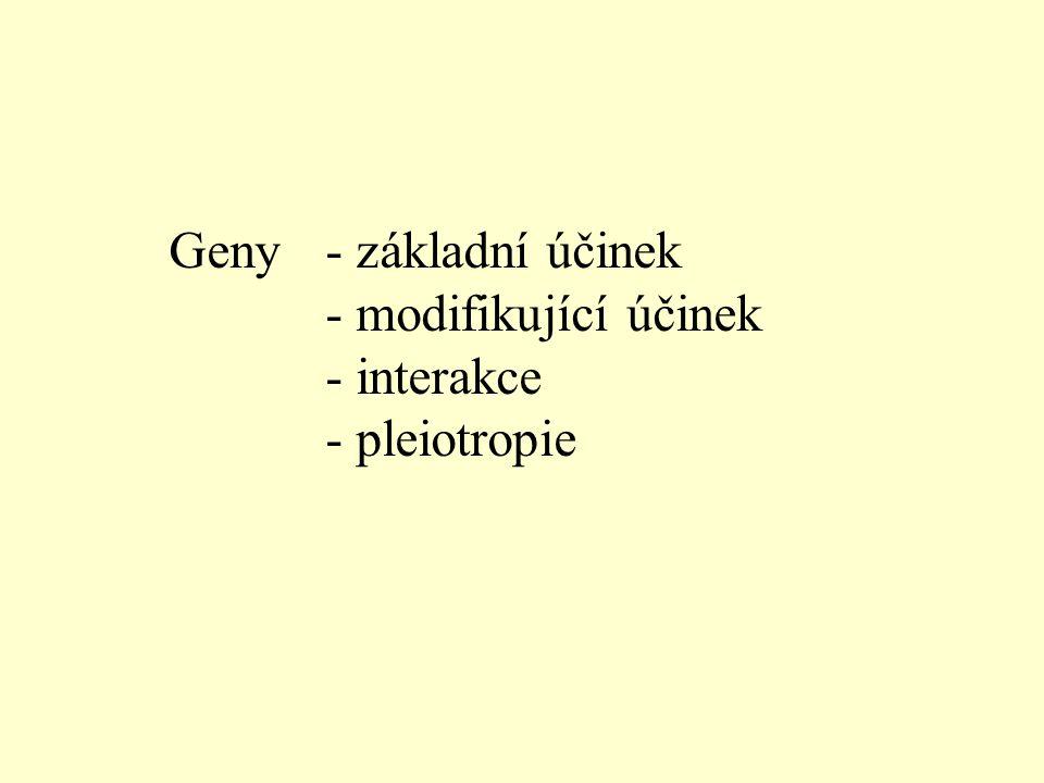 Geny- základní účinek - modifikující účinek - interakce - pleiotropie