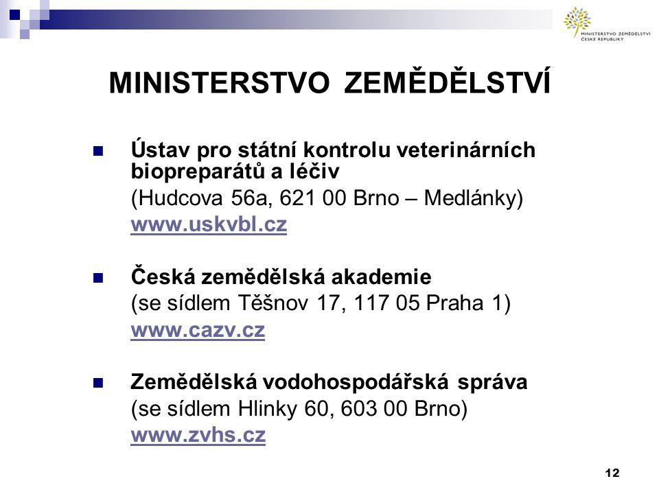 12 MINISTERSTVO ZEMĚDĚLSTVÍ Ústav pro státní kontrolu veterinárních biopreparátů a léčiv (Hudcova 56a, 621 00 Brno – Medlánky) www.uskvbl.cz Česká zemědělská akademie (se sídlem Těšnov 17, 117 05 Praha 1) www.cazv.cz Zemědělská vodohospodářská správa (se sídlem Hlinky 60, 603 00 Brno) www.zvhs.cz