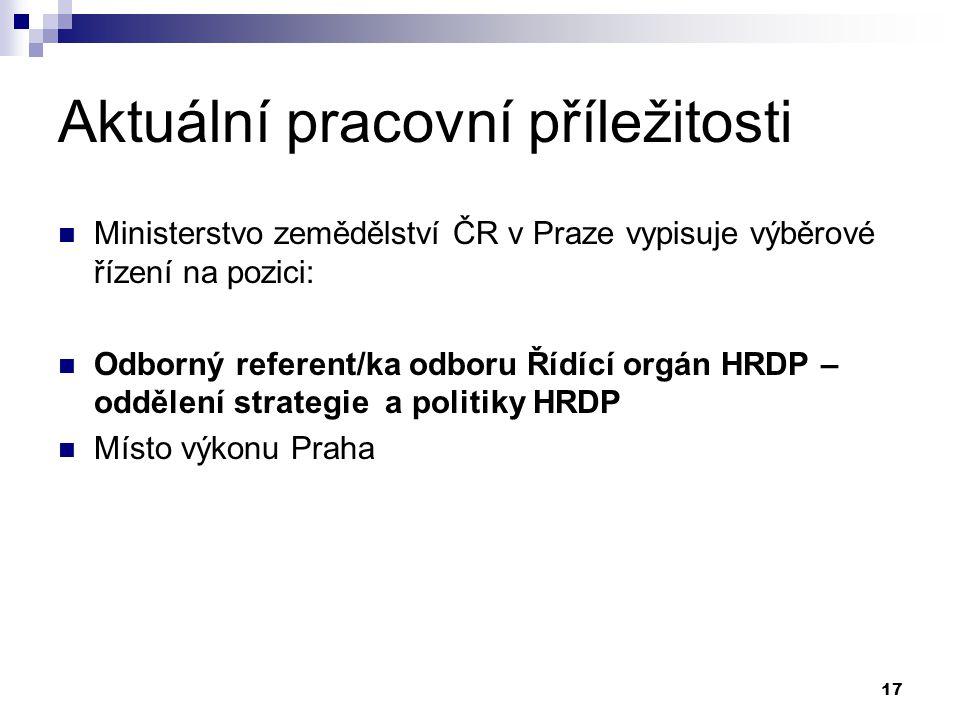 17 Aktuální pracovní příležitosti Ministerstvo zemědělství ČR v Praze vypisuje výběrové řízení na pozici: Odborný referent/ka odboru Řídící orgán HRDP