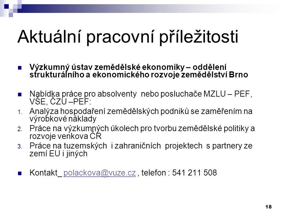 18 Aktuální pracovní příležitosti Výzkumný ústav zemědělské ekonomiky – oddělení strukturálního a ekonomického rozvoje zemědělství Brno Nabídka práce pro absolventy nebo posluchače MZLU – PEF, VŠE, ČZU –PEF: 1.
