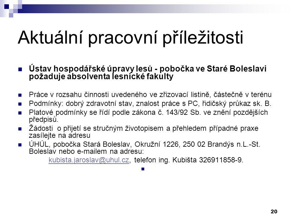 20 Aktuální pracovní příležitosti Ústav hospodářské úpravy lesů - pobočka ve Staré Boleslavi požaduje absolventa lesnické fakulty Práce v rozsahu činn