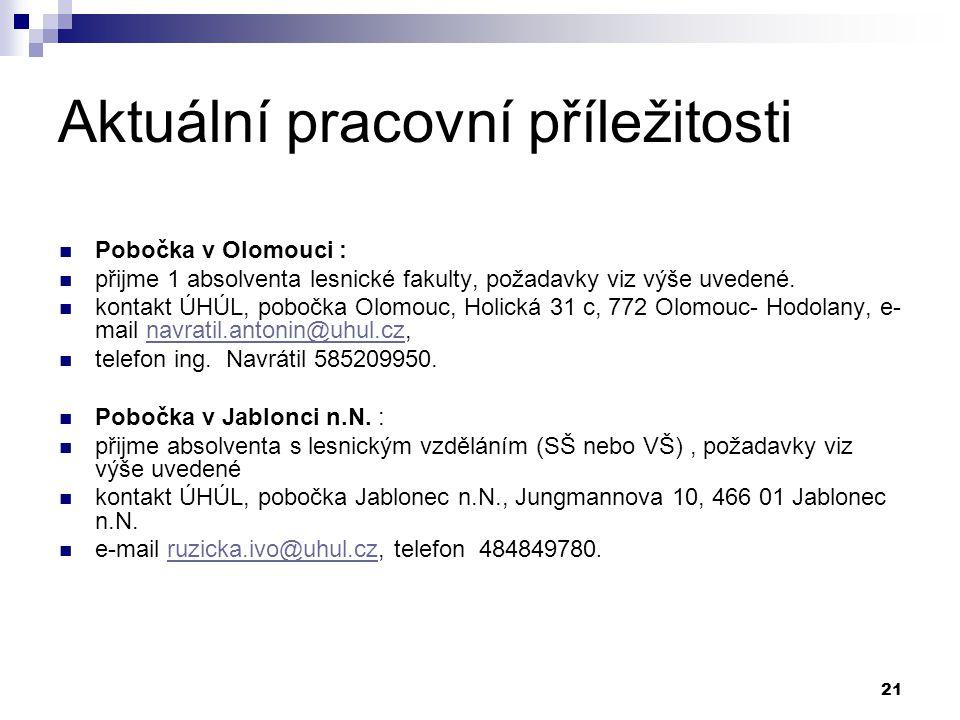 21 Aktuální pracovní příležitosti Pobočka v Olomouci : přijme 1 absolventa lesnické fakulty, požadavky viz výše uvedené. kontakt ÚHÚL, pobočka Olomouc